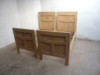 A Prettiest Pair of Antique/Old Pine Art Nouveau Carved Childrens Single Beds