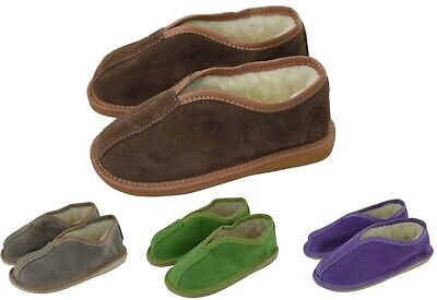 Girls Boys Children Natural Suede Leather Slippers Size UK 6-1 EU 23-34