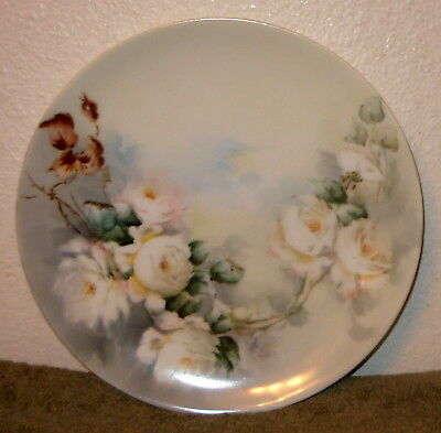 """Vtg RS GERMANY Gorgeous Floral (Roses) Porcelain 9"""" PLATE Hand Painted XLNT!"""
