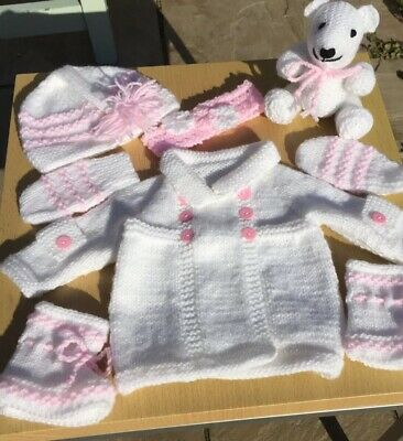 f04ff0bba NEW HAND KNITTED Baby Girl Cardigan Gift Set   Teddy. White   Pink ...
