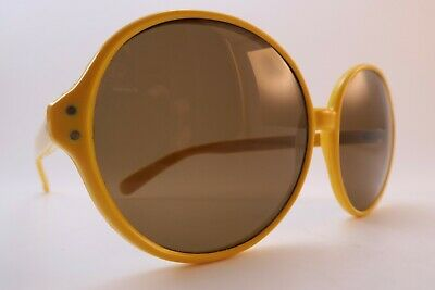Vintage 70s sunglasses NOS bright yellow acetate brown lens made in Italy