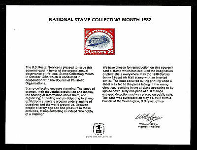 SOUVENIR CARD MINT National Stamp Collecting Month USPS 1982
