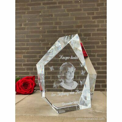 Personalised 3D iceberg crystal for Granparents with kids. 2 faces.Laser Engrave
