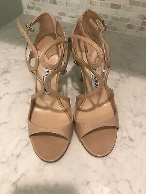 33b4d583afb0 JIMMY CHOO Lang Nude Beige Patent Leather Strappy Cross Heels Sandals 39