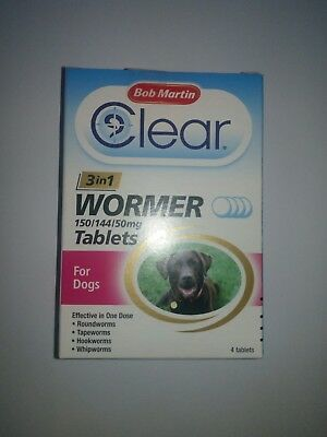Bob Martin clear 3in1 wormer 150/144/50mg tablets for dogs up 40 kg ,4 tablets