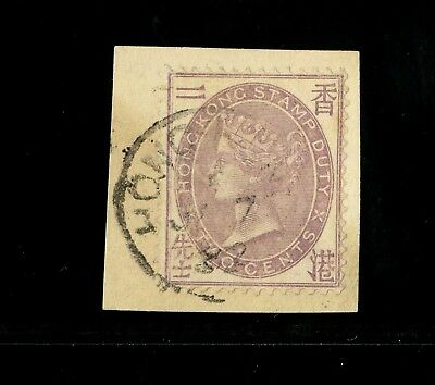 ( HKPNC ) HONG KONG 1880s QV 2c FISCAL ON PIECE VERY EARLY POSTAL USAGE 1882 VF