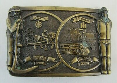 Vintage International Harvester Brass Belt Buckle McCormick Reaper & IH Combine