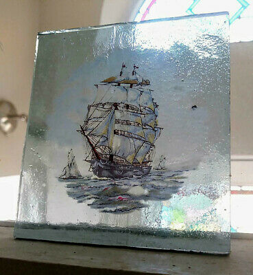 Stained Glass - Large blue Tall Ship Sailing Galleon  vintage  pane Kiln fired.