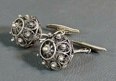 Antique Imperial Russian Sterling Silver Filigree Flower Ball Cufflinks Set Pair