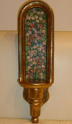 Vintage Fine Gold Polychrome and Hand Painted Wall Shelf Sconce Altar Shrine
