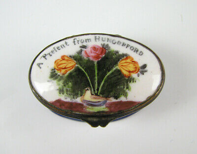 "18th C Antique Bilston Battersea English Enamel Box ""A Present From Hungerford"""