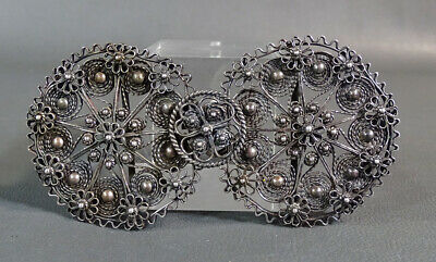 Antique Imperial Russian Sterling Silver Filigree Flower Lady Belt Buckle Clasp