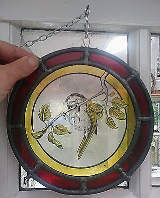 Stained Glass Bird Roundel centre & Red Border Hand Painted Kiln Fired centre
