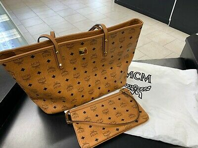 5cd2b2051 MCM Anya Medium Zip Shopper Tote Bag with Removable Pouch Cognac