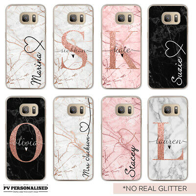 Initials Name Phone Case Personalised Marble Hard Cover Samsung Galaxy S7 S8 S9