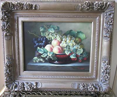 ORIGINAL OIL PAINTING,STILL LIFE,SIGNED,CARL ROMNEY in Antiqued Wood Frame