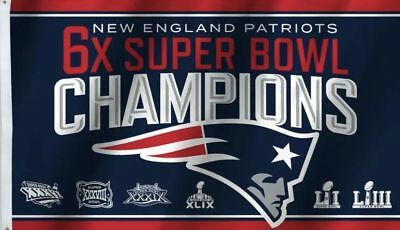 New England Patriots 6x SUPER BOWL CHAMPIONS FLAG 3x5 BANNER SuperBowl In hand