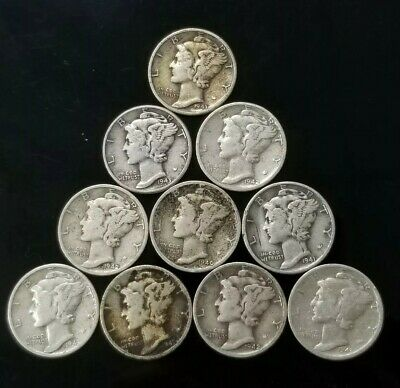 1940's Mercury Dimes Lot of 10 - 90% Silver - US Coins [SC7595]