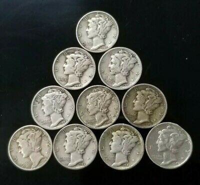 1940's Mercury Dimes Lot of 10 - 90% Silver - US Coins [SC7596]