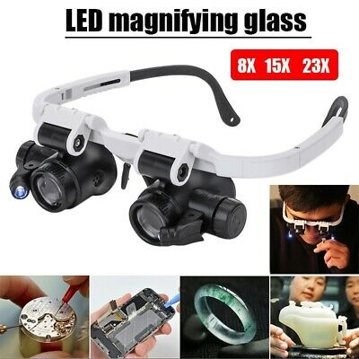 Head-Mounted 8X 15X 23X LED Magnifier Double Eye Glasses With LED Lamp