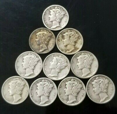 1940's Mercury Dimes Lot of 10 - 90% Silver - US Coins [SC7597]