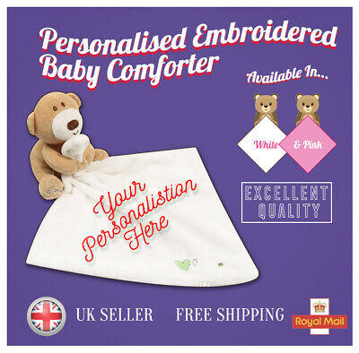 Personalised Embroidered Baby Comforter Security Blanket Teddy Bear Gift Newborn