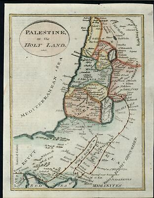Middle East Palestine Holy Land Lebanon Israel c.1805 Gridley hand color map