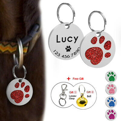 Personalised Dog Tags Disc Disk Customized Cat Pet Puppy ID Name Tag Paw Glitter