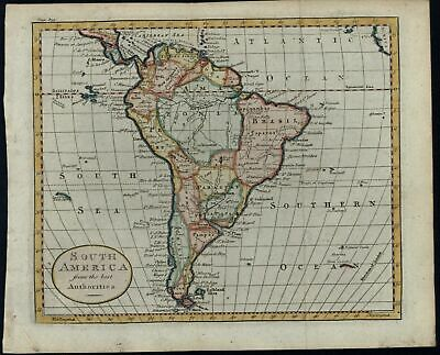 South America continent from best Authorities 1790 Kitchin hand color map
