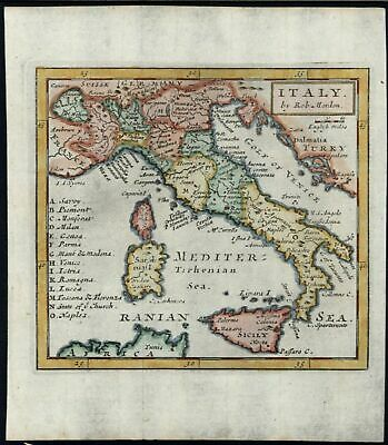 Italy scarce 1719 Morden hand color map Borri #not noted