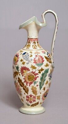 Extremely Beautiful Antique Hungarian Zsolnay Type Pottery Ewer, Perfect
