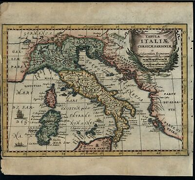 Italy 1690 scarce decorative hand color map