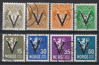 Norway - 8 stamps with V-overprint, all with watermarks.