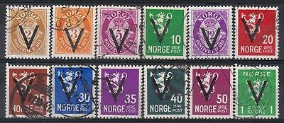 Norway - 12 stamps with V-overprint, all without watermarks.