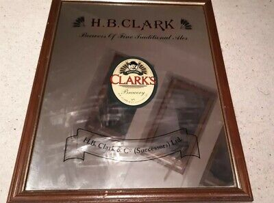 HB Clark Wakefield - Large Bar Mirror in Wooden Frame - Good Condition