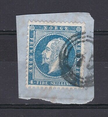 Norway no 4, King Oscar I, on a small piece of paper, nice 3-ring number 75.