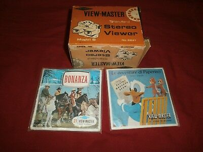 Sawyer's View-Master Stereo Viewer Visore + 7 Dischi Diapositive Ottimo Vintage
