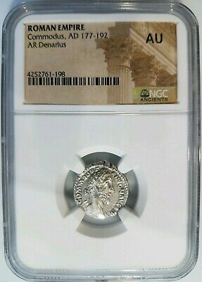 Commodus Roman Empire AD 177-192 NGC AU Silver AR Denarius Angel Ancient Coin