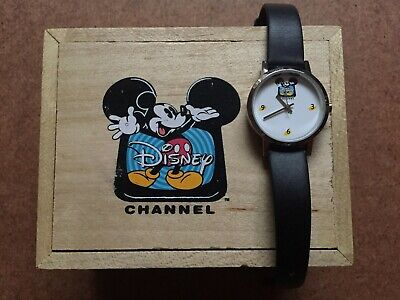 Disney Channel Mickey Mouse Black Leather Wrist Watch New