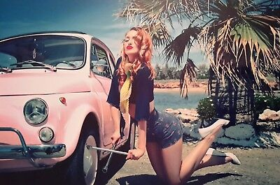 "PIN UP GIRL FIAT 500 CAR 7x5"" PICTURE PRINT WALL ART"