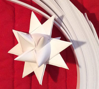 """Paper Strips to make 3D Stars (Moravian Quilling) All White, ¾"""" over 1600 strips"""