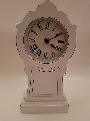 Shabby Chic Style White Wooden Mantle Clock