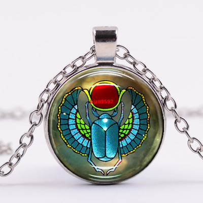 Egyptian Scarab Art Cabochon Tibetan silver Glass Chain Pendant Necklace #0