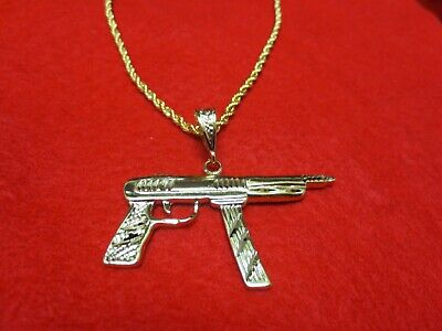 "14 Kt Gold Plated Machine Gun Charm 2"" By 2""bling  With A 20 Inch 3Mm Rope-4804"