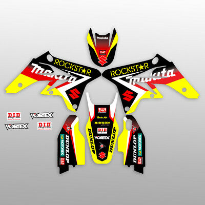 1993-1995 Suzuki Rm 125 250 Graphic Kit Rm125 Rm250 Rockstar : Black / Red Decal