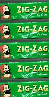 5 PACKS Zig Zag Green Rolling Papers Cut Corners *Best Price* *USA SHIPPED*