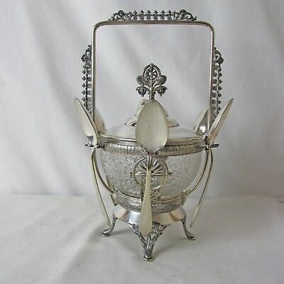 Victorian Silver Plated Master Sugar Bowl And 6 Spoons C: 1873 - 1886