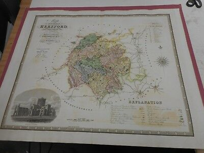 100% Original Large Herefordshire Map By Greenwood C1834 Hand Coloured