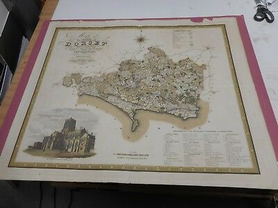100% Original Large Dorsetshire Map By Greenwood C1834 Hand Coloured