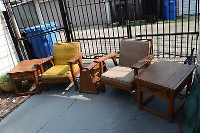 Brandt Ranch Oak Set Of Lounge Chairs,lamp Tables And Magazine Rack
